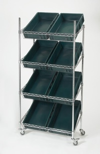 Chrome Sloping Shelf Container Trolley: click to enlarge