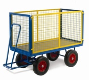 Turntable Trailer with Mesh Cage Supports - Steel Deck