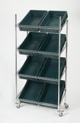 Chrome Sloping Shelf Container Trolley